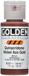 Golden, Fluid Acrylics, Artist Quality, Quinacridone / Nickel Azo Gold #2301, 1 fl.oz, Scrapify, Australia