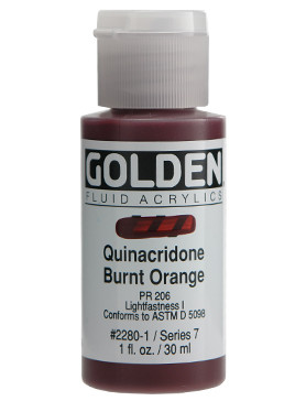 Golden, Fluid Acrylics, Artist Quality, Quinacridone Burnt Orange #2280, 1 fl.oz, Scrapify, Australia