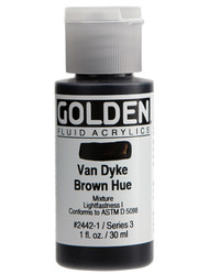 Golden, Fluid Acrylics, Artist Quality, Van Dyke Brown Hue #2442, 1 fl.oz, Scrapify, Australia