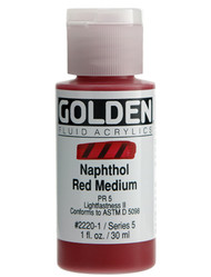 Golden, Fluid Acrylics, Artist Quality,Naphthol Red Medium #2220, 1 fl.oz, Scrapify, Australia