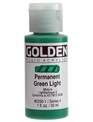 Golden, Fluid Acrylics, Artist Quality, Permanent Green Light 2250,1 fl.oz, Scrapify, Australia