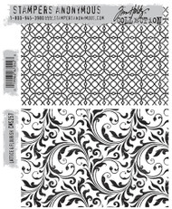 Tim Holtz Stampers Anonymous - Cling Rubber Stamp Set -Lattice and Flourish, 7 x 8.5in, Scrapify, Australia