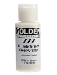 Golden, Fluid Acrylics, Artist Quality, C.T. Interference Green-Orange, 1 fl oz, Scrapify, Australia