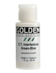 Golden, Fluid Acrylics, Artist Quality, C.T. Interference Green-Blue, 1 fl oz, Scrapify, Australia