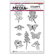 "Dina Wakley Media - Scribbly Small Flowers and Insects, Cling Stamps 6""x9"", Scrapify, Australia"