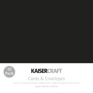 Kaisercraft cards & envelopes 140 x 140 mm, Square, Black, pk 10, CD503, Scrapify, Australia