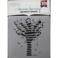 Donna Downey Signature Series Stencils, Striped Tree DD132, 8.5 x 8.5in, Scrapify, Australia