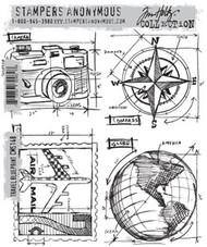 Stampers Anonymous, Tim Holtz Cling Rubber Stamps TRAVEL BLUEPRINT, 4 Stamps, Scrapify, Australia