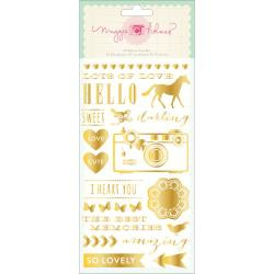 Maggie Holmes, Styleboard Rub-Ons 2/Pkg Accents & Phrases/Gold, Scrapify, Australia