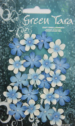Green Tara, Mini Flowers, Bright Blue, 20pk, Scrapify, Australia