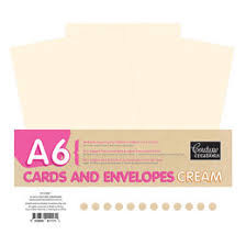 Couture Creations, A6, Cream Cards and Envelopes, 50 Pack, Scrapify, Australia