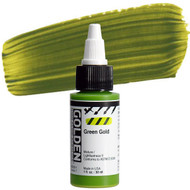 Golden High Flow Acrylic, Acrylic Inks,  Artist Paints, Green Gold, 1 fl oz, Scrapify, Australia