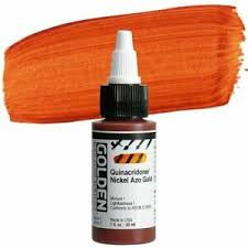 Golden, High Flow Acrylics, Acrylic Inks, Artist Quality, Quinacridone Nickel Azo Gold, 1fl oz, Scrapify, Australia
