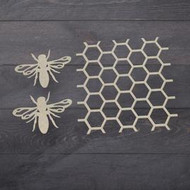 Couture Creations, ChipBoard, Beehive & Bees Chipboard Set, 11cm x 10 cm (3 pieces) CO726575, Scrapify, Australia