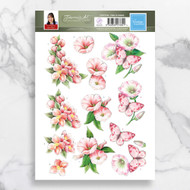Couture Creations, 3D Die-Cut Decoupage,  Paper Tole, Jeanine's Art, Pink Flowers, A4 Sheet, CO727740, Scrapify, Australia