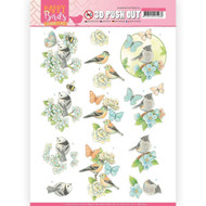 Couture Creations, 3D Die-Cut Decoupage,  Paper Tole, Jeanine's Art, Happy Birds, A4 Sheet, SB10414, Scrapify, Australia