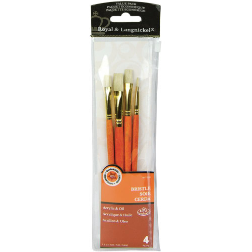 Royal and Langnickel, Bristle Value Pack, Brush Set (Flat 1, 3, 5, 8), Scrapify, Australia