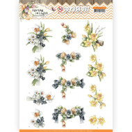 Couture Creations, 3D Die-Cut Decoupage,  Paper Tole, Spring Delight Collection - Violets and Daffodils, A4 Sheet, SB10425, Scrapify, Australia