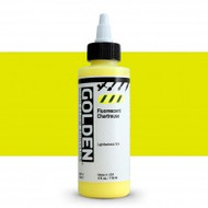 Golden, High Flow Acrylics, Acrylic Inks, Artist Quality, Fluorescent Chartreuse, #8567-4, 4fl oz, Scrapify, Australia
