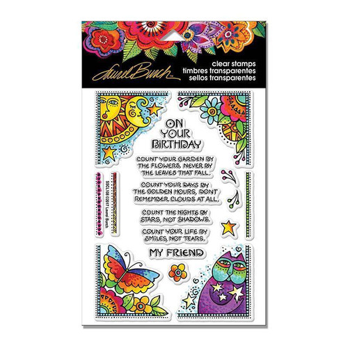 Stampendous Laurel Burch Cling Stamp, Birthday Corners, SSCL108, Scrapify, Australia