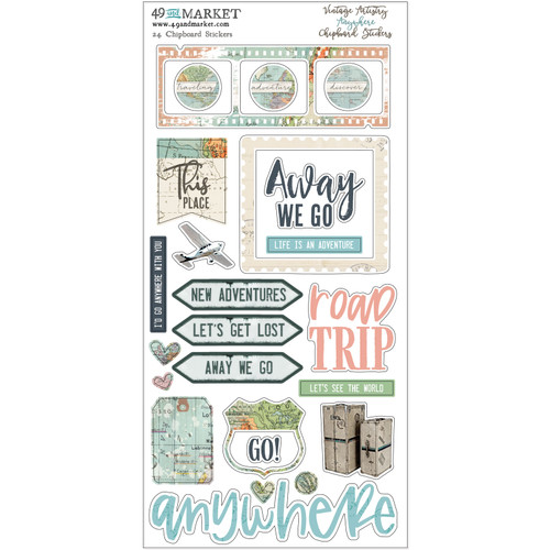 49 and Market, Vintage Artistry Anywhere - Chipboard Stickers , Scrapify, Australia