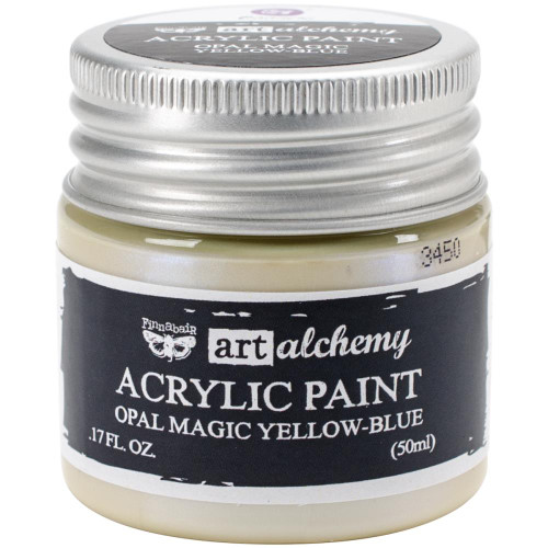 Prima Finnabair Art Alchemy Acrylic Paint - Opal Magic Yellow-Blue, Scrapify, Australia