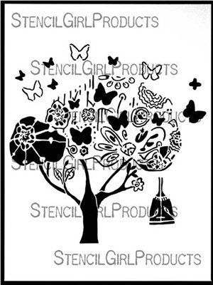Stencil Girl Products, Stencil, Tree of Change, Scrapify, Australia