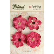 "Petaloo - Textured Elements - Burlap Blossoms - Fuchsia -  2.25"" 4/Pkg - Scrapify - Australia"
