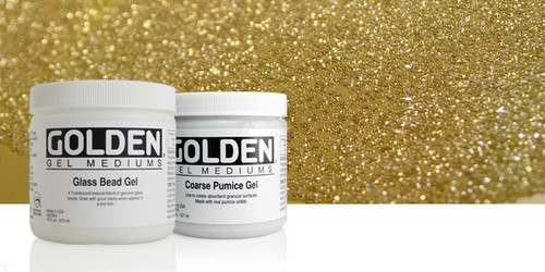 Glass Bead Gel is a coarse textured medium with a viscosity similar to Heavy Body that holds peaks. Made with genuine glass beads roughly the size of poppy seeds. The visual effect of this gel is like condensation on cold glass as it creates a textured but glossy surface over colour. Blends well with other Golden Gels, Mediums and Colours.