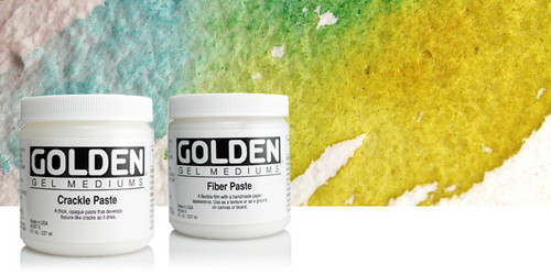 Fiber Paste when dry has the appearance of handmade paper. It can be skimmed with a wet palette knife to make a smoother surface. The dry off-white colour is absorbent, making it ideal for use with acrylic washes.