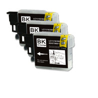 3-Pack (Black Only) Compatible Ink for Brother LC61