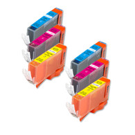 6-Pack Color CMY Canon CLI-221 Compatible Ink w/ chip
