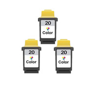 3-Pack Lexmark #20 Color Ink Cartridge - Remanufactured