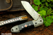"DKC-57 BLACK HORNET Damascus Folding Pocket Knife 4.5"" Folded 7.5"" Long 7.6oz oz High Class Looks Incredible Feels Great In Your Hand And Pocket Hand Made DKC Knives ™"