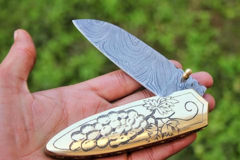 """DKC-63 NAPA GRAPES BRASS Damascus Folding Pocket Knife Polished Brass 5"""" Folded,8.5"""" Open 12.5 Oz very solid sophisticated knife.Custom Engraved DKC Knives ™"""