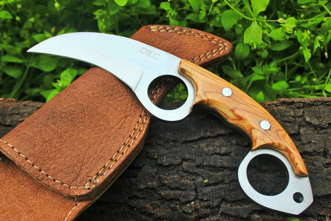 """DKC-87 OWL FOX D2 Steel Skinner Hunting Knife 8""""Long 6.2oz High Class Looks Incredible Feels Great In Your Hand And Pocket Hand Made DKC Knives"""