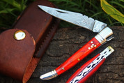 "DKC-93 MT. TAM Damascus Folding Laguiole Pocket Knife Red Pakka Wood 4.5"" Folded 8.5"" Long 3.2oz oz High Class Looks Incredible Feels Great In Your Hand And Pocket Hand Made DKC Knives TM"