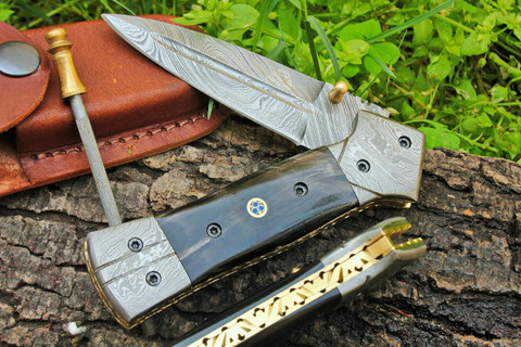 """DKC-130-B NIGHT STAR Damascus 4.5' Folded 8"""" Open 9.5 oz Pocket Folding Knife DKC Knives TM Hand Made Incredible Look and Feel"""