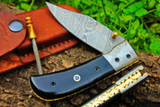 "DKC-122 NIGHT RIDER Damascus 4.5' Folded 8"" Open 7 oz Pocket Folding Knife DKC Knives TM Hand Made Incredible Look and Feel"