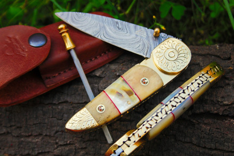 "DKC-176 BRASS PRINCE Damascus Folding Pocket Knife 4.5"" Folded 8"" Long 7.2oz oz High Class Looks Incredible Feels Great In Your Hand And Pocket Hand Made DKC Knives TM"