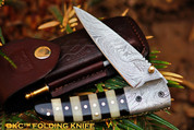 "DKC-105 BUMBLE BEE Damascus Folding Pocket Knife 4.5"" Folded 8"" Long 7.2oz oz"