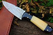 "DKC-520 TETON Damascus Tanto Bowie Hunting Handmade Knife Fixed Blade 5.7 oz 7.75 "" Long"