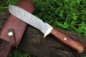 "DKC-518 BUSH MASTER Damascus Bowie Hunting Handmade Knife Fixed Blade 14 oz 1 Foot Long 6 "" Blade"