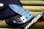 "DKC-43-RT-DS-x RUSTIC THUMB Damascus Steel Folding Pocket Knife 3.5"" Folded 6.25"" Open 7.5oz 2.25"" Blade Stag Horn, Damascus Bolster Very Solid High Quality Knife DKC Knives ™  ASIN: B07KNFXKP6"