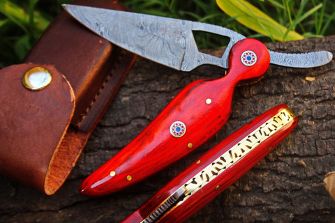 "DKC-157 Golden Arrow Damascus Folding Pocket Knife 6"" Folded 8.5"" Long 3"" Blade 5oz High Class Looks Incredible Feels Great In Your Hand And Pocket Hand Made DKC Knives ­TM"