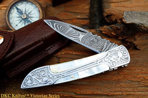 "DKC-37-PS VICTORIAN Damascus Folding Pocket Knife Pearl Shell 7.75"" Long, 4.5"" Folded 3"" Blade 4.8oz DKC Knives (DKC-37-PS)"