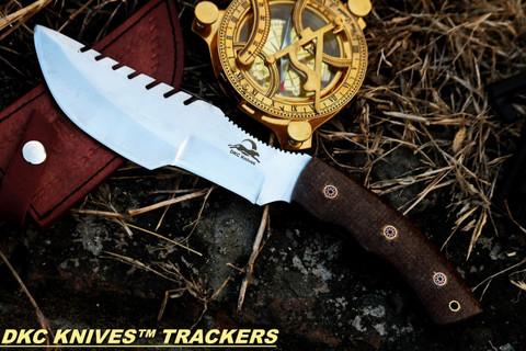 "DKC-400 CS SIERRA TRACKER Damascus Hunting Knife Brown Burlwood Style Micarta 12"" Long, 6"" Blade 13ozl Cabon Steel Blade"