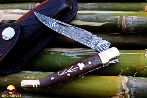 "DKC-312-DS COURTYARD Damascus Folding Laguiole Pocket Knife 4"" Folded 7.5"" Long 3"" Blade 2.1oz oz"