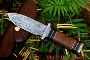 "DKC-190 FRODO Damascus Hunting Knife Brown Burlwood Style Micarta 9"" Long, 4.5"" Blade 13oz"