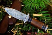 "DKC-190 FRODO Damascus Hunting Knife Brown Burlwood Style Micarta 9"" Long, 4.5"" Blade 13oz"